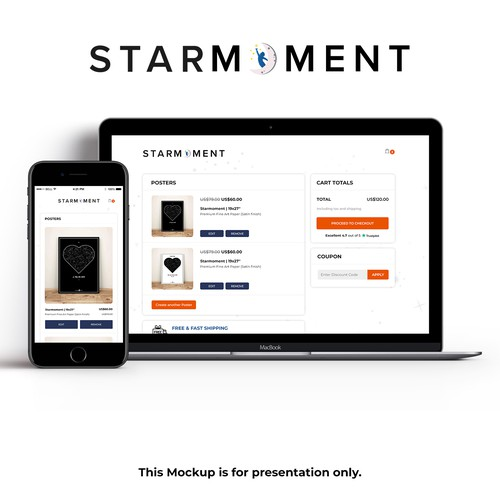 Checkout page for starmoment.com