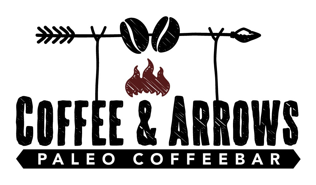 """Minimalist hipster logo for Paleo Coffeebar called """"Coffee and Arrows"""""""