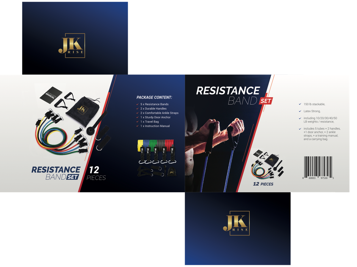 Custom brochure/manual and box/package for resistance bands
