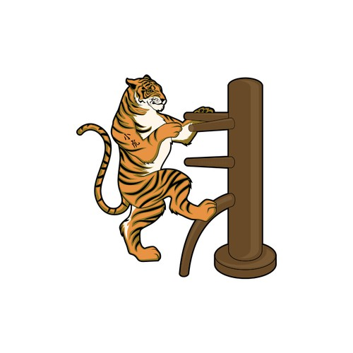 "create a tiger playing wing chun on a wooden dummy.  tiger should have ""小虎"" tattooed on his arm"