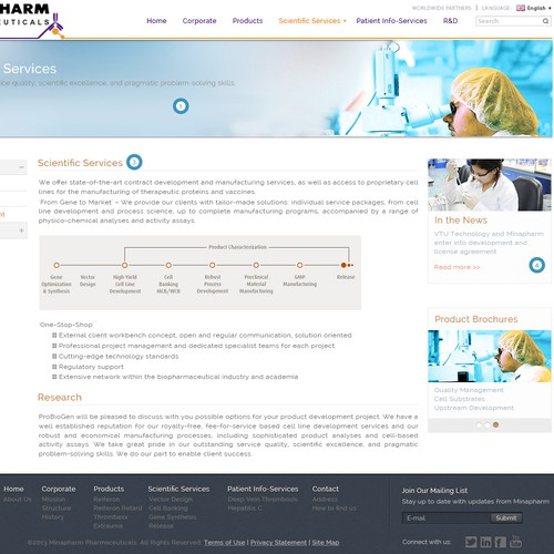 Pharmaceutical company website design