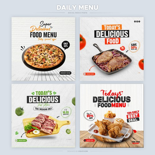 Social Media Ads for a restaurant for promoting the daily menu.