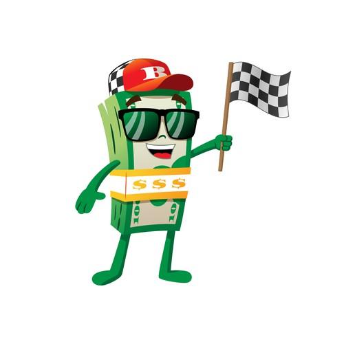 Racing car money mascot