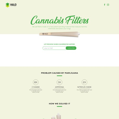 Landing page design for Cannabis Filters