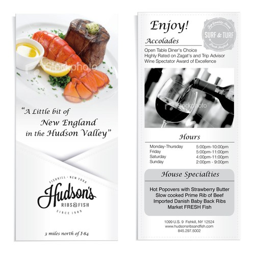 Hudson's Ribs & Fish needs a new postcard or flyer