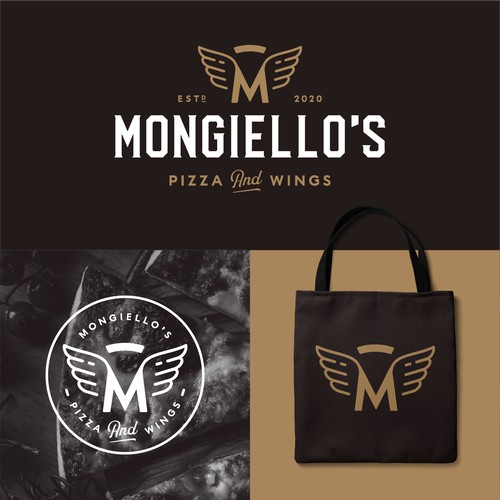 Bold logo for Mongiello's Pizza and Wings