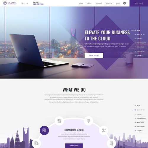 Homepage design for the cloud based financing firm in KSA