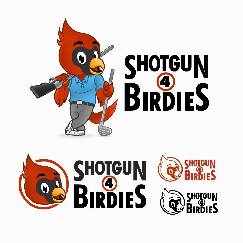Design a fun logo for a bird shotgunning beers