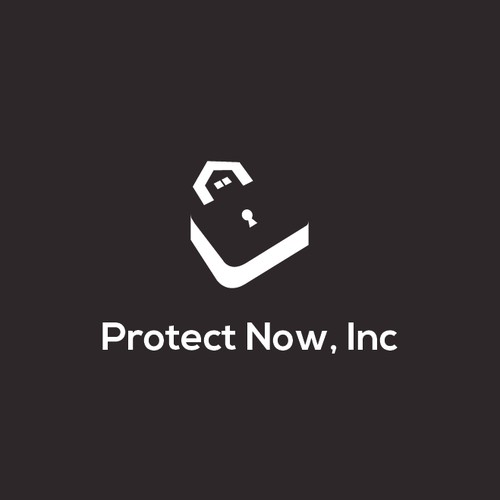 Negative space logo style for Protect Now, Inc