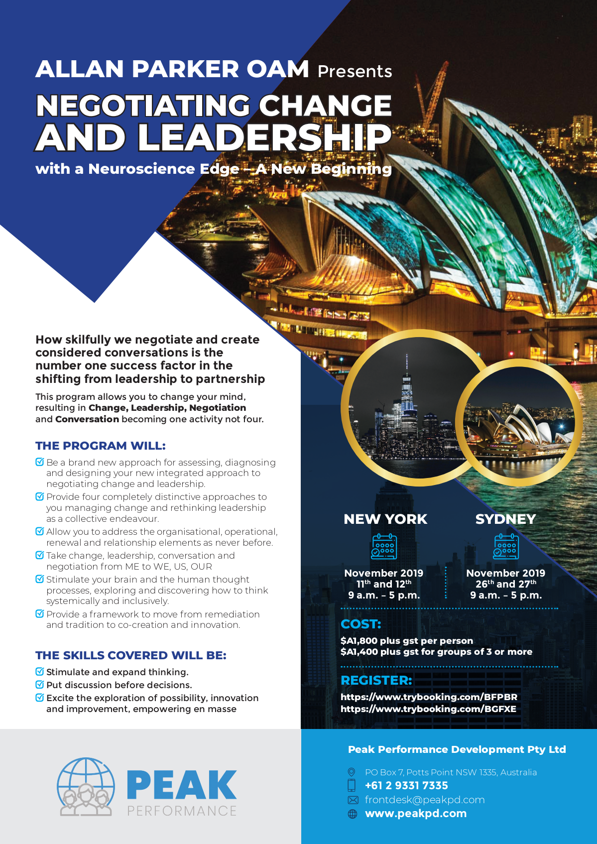 Revising date on Negotiating Change and Leadership New York & Sydney flyer from last week