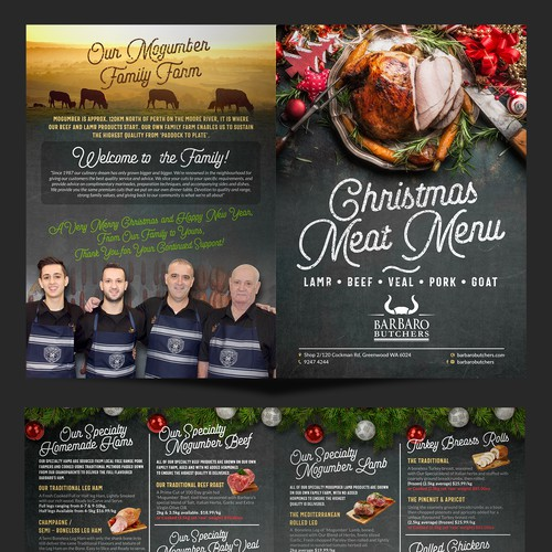 Barbaro Butchers Christmas Meat Menu