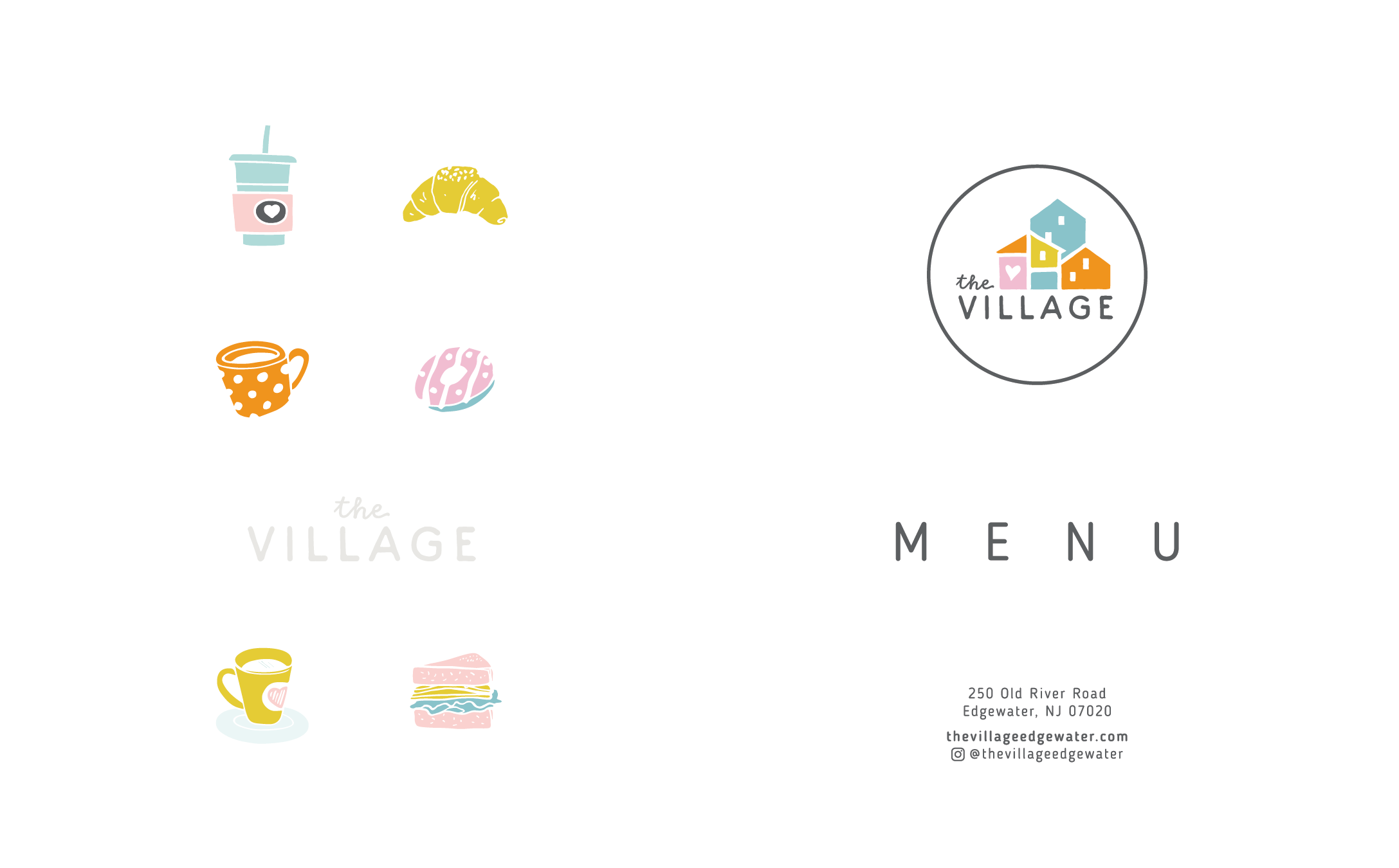 The Village Menu and Shopping Bags Design