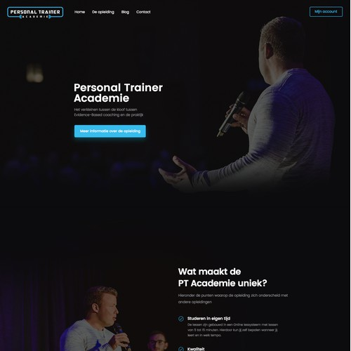 A landing page for a personal trainer
