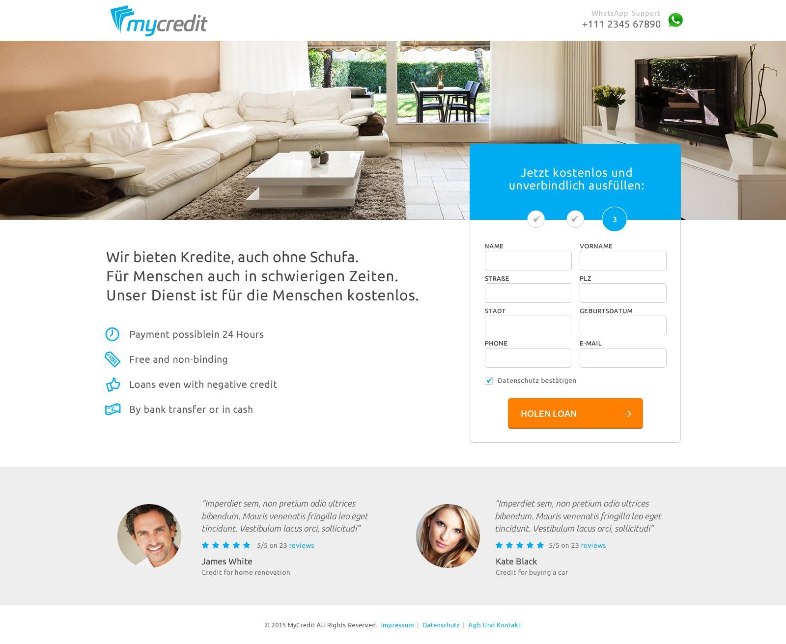 Landing Page for loans without Schufa / Landingpage für Kredite auch ohne Schufa