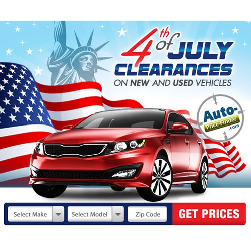 Fourth of July banner ad for a unique Automotive Website
