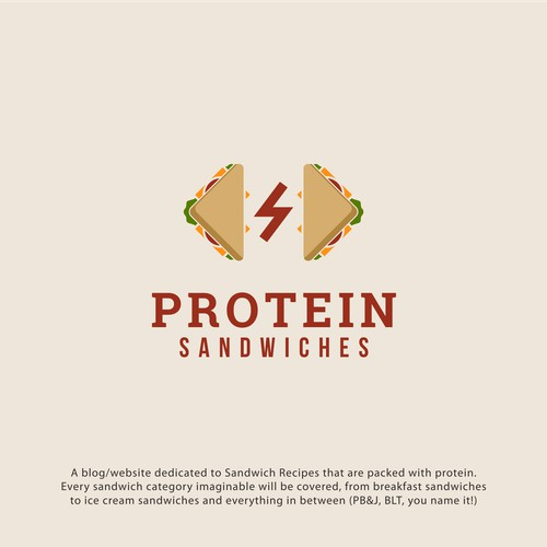 powerfull logo concept for food blog dedicated to sandwich recipes packed with protein
