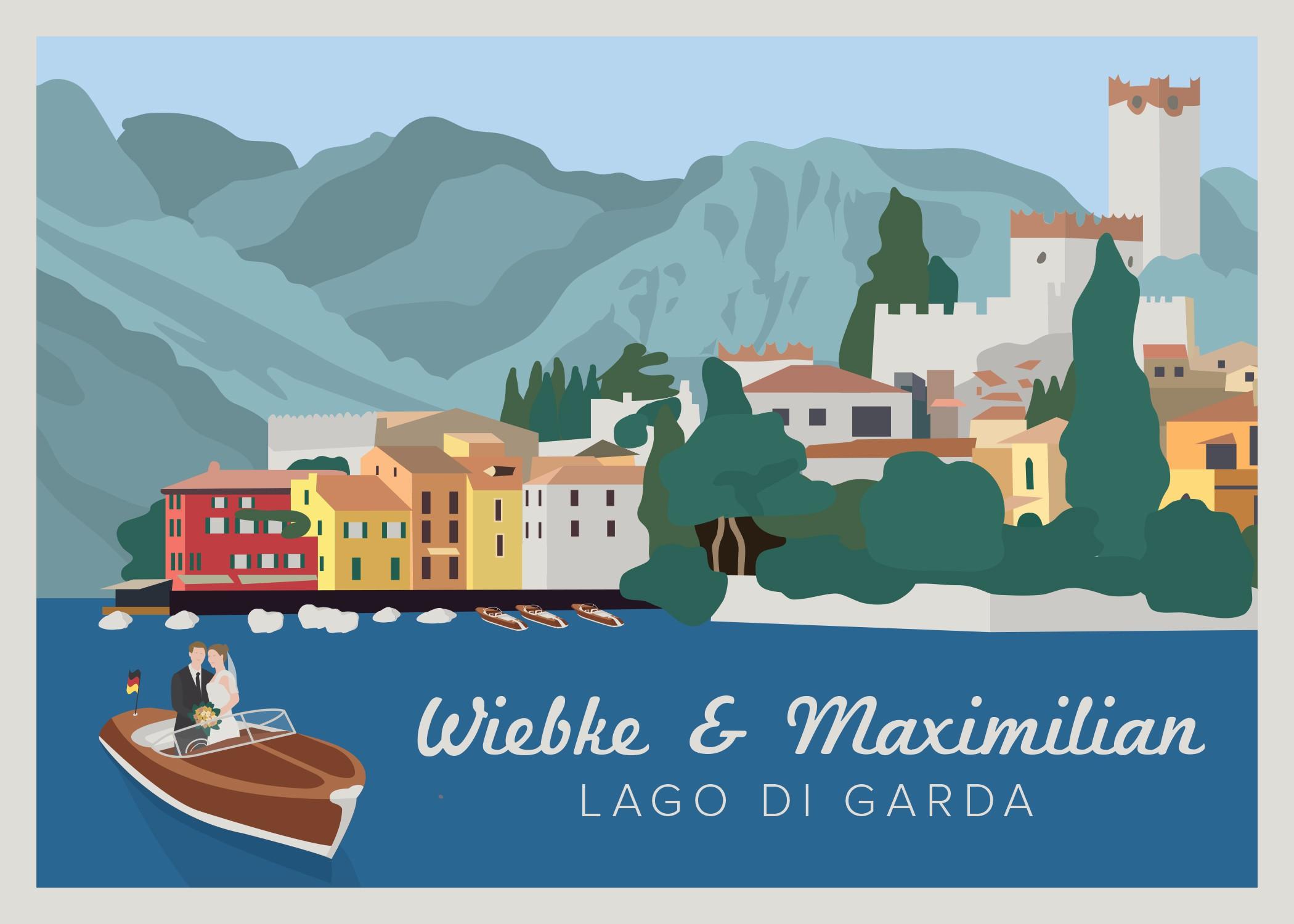 Stylish Colourful Vintage-Travel-Poster-Style German-Italian Wedding Invitation Card