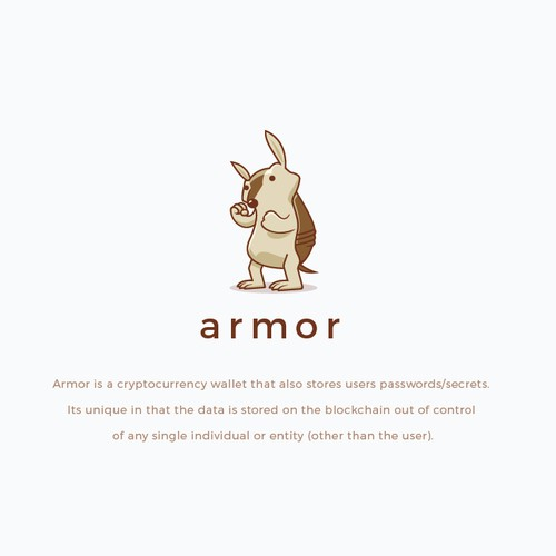 Simple Armadillo character logo for Armor.
