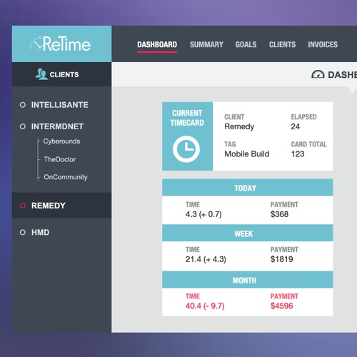 Create a fun and modern UI for a ReTime, a web and mobile time tracking app