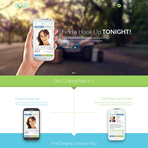 Create simple and engaging landing page for dating app