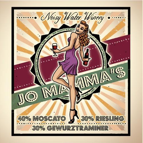 Vintage Pinup Illustration design for a Wine Label