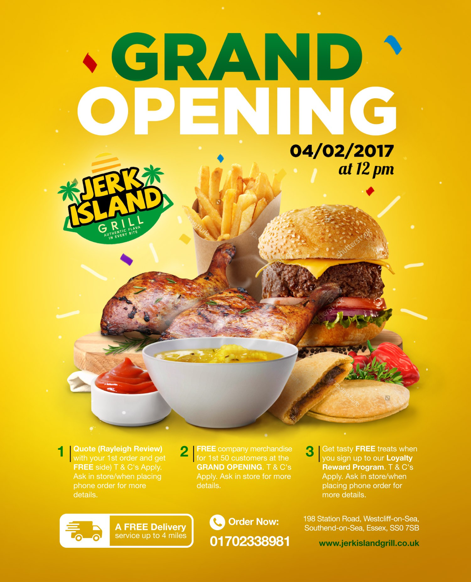 CREATE EYE-CATCHING, COLOURFUL PRINT AD FOR JERK ISLAND GRILL