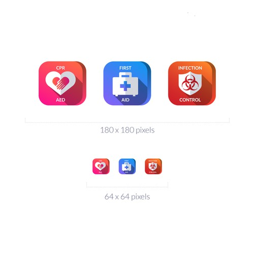 Icon set for a CPR and First Aid certification company.