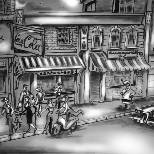 Pencil drawing illustration