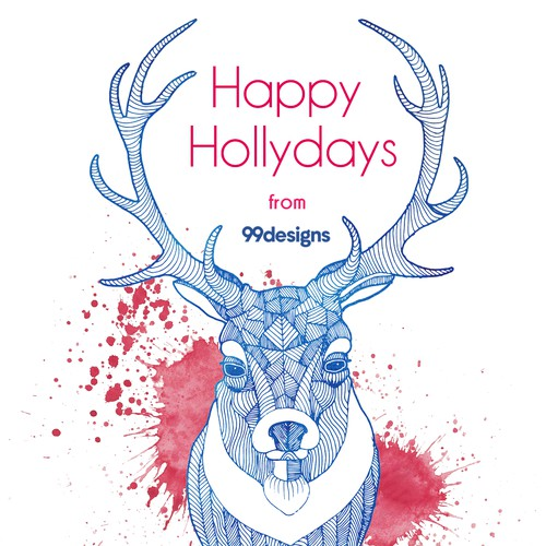 Happy hollydays cars with deer