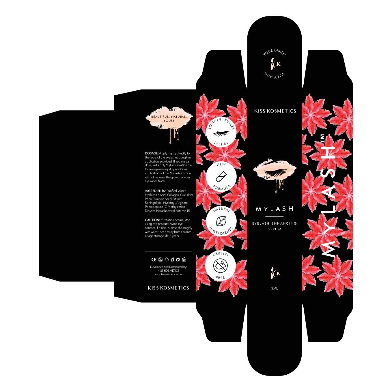 Eyelash serum labeling/packaging design.