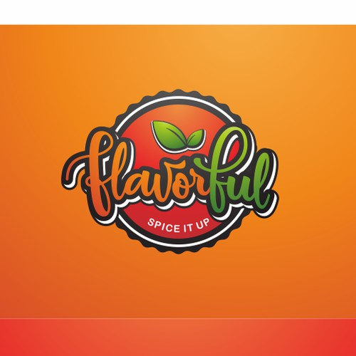 Flavorful logo with hidden vegetables and lobster background