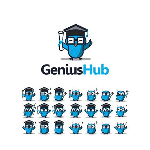 Owl character logo for GeniusHub