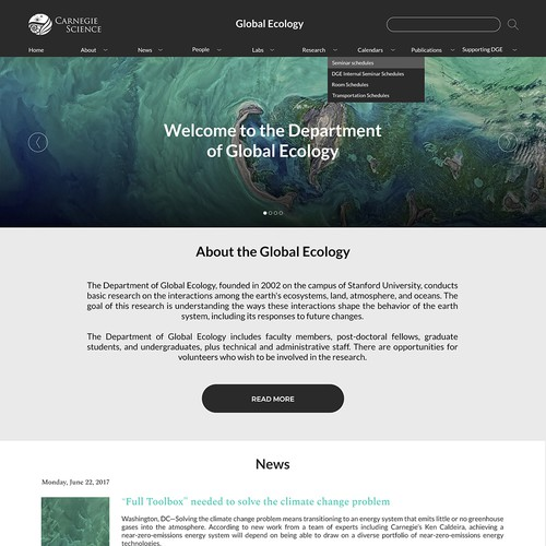 Landing page for leading scientific research organization