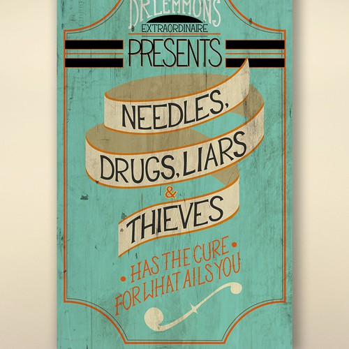 Quirky book cover for Needles, Drugs, Liars, and Thieves