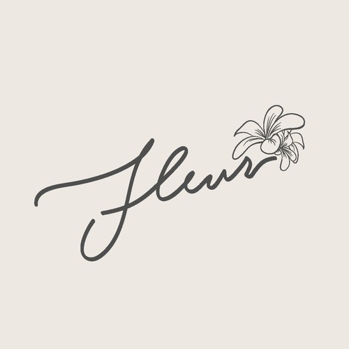 Hand Lettering Logo with Flower Sketch