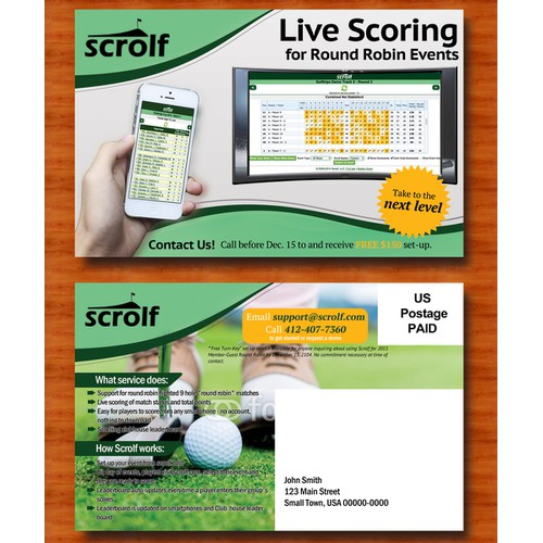 Live Golf Leaderboard Member-Guest Round Robin Postcard