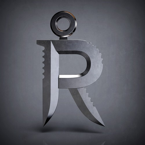 R Pendant with Knife Elements