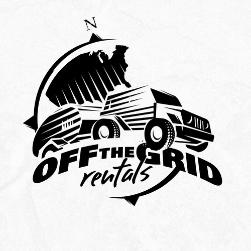 """Off Roading Jeep with Trailer Logo for """"Off the Grid Rentals"""""""