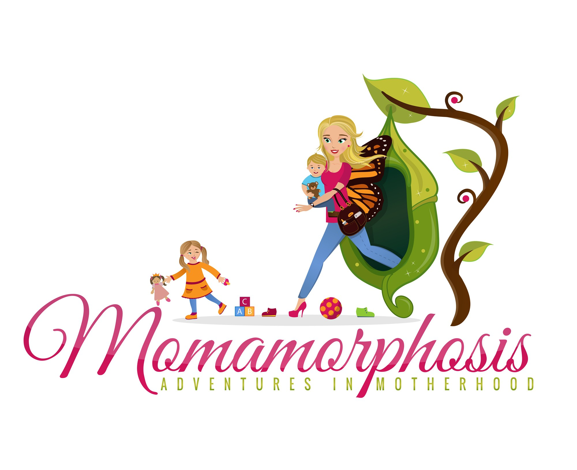 Create the next logo for Momamorphosis.com, a lighthearted and funny mom blog.