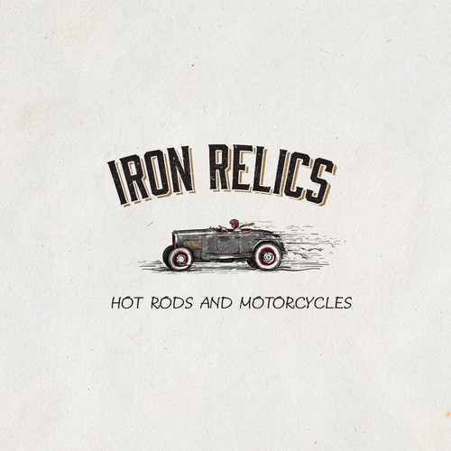 Vintage logo for hot rod and motorcycle shop
