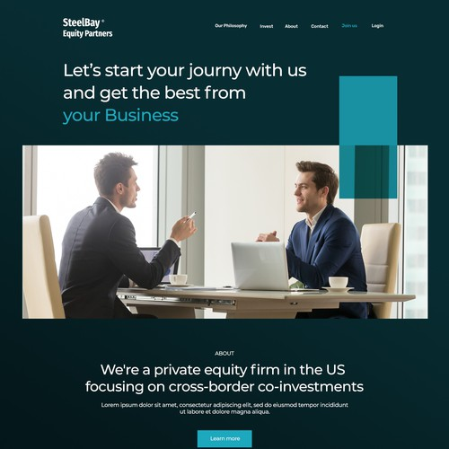 Landing Page for equity firm focusing on co-investments