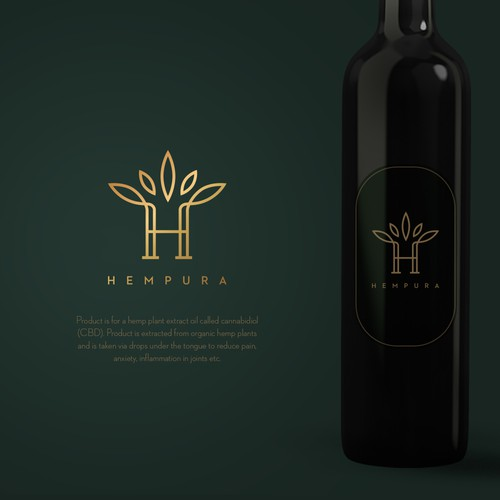 Logo proposal for hemp plant oil brand.