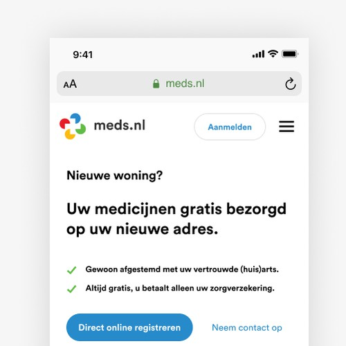 Meds.nl landing page design (mobile)