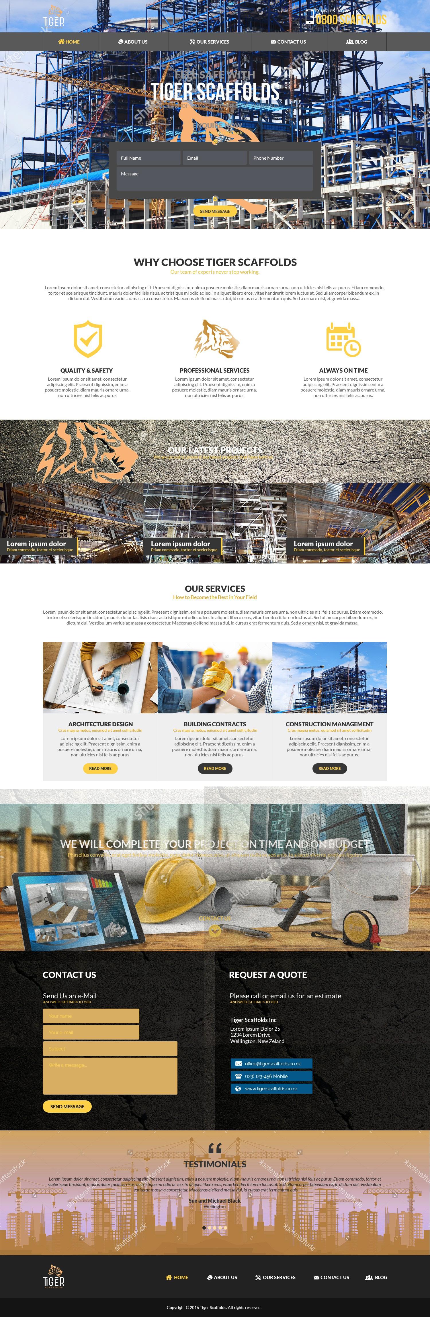A construction Web page that has the wow factor