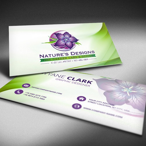 the concept of a business card Nature`s Designs