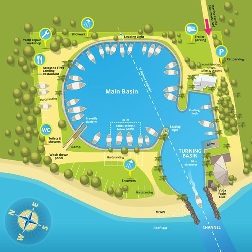 Illustrated Map for a Marina in Fiji Islands