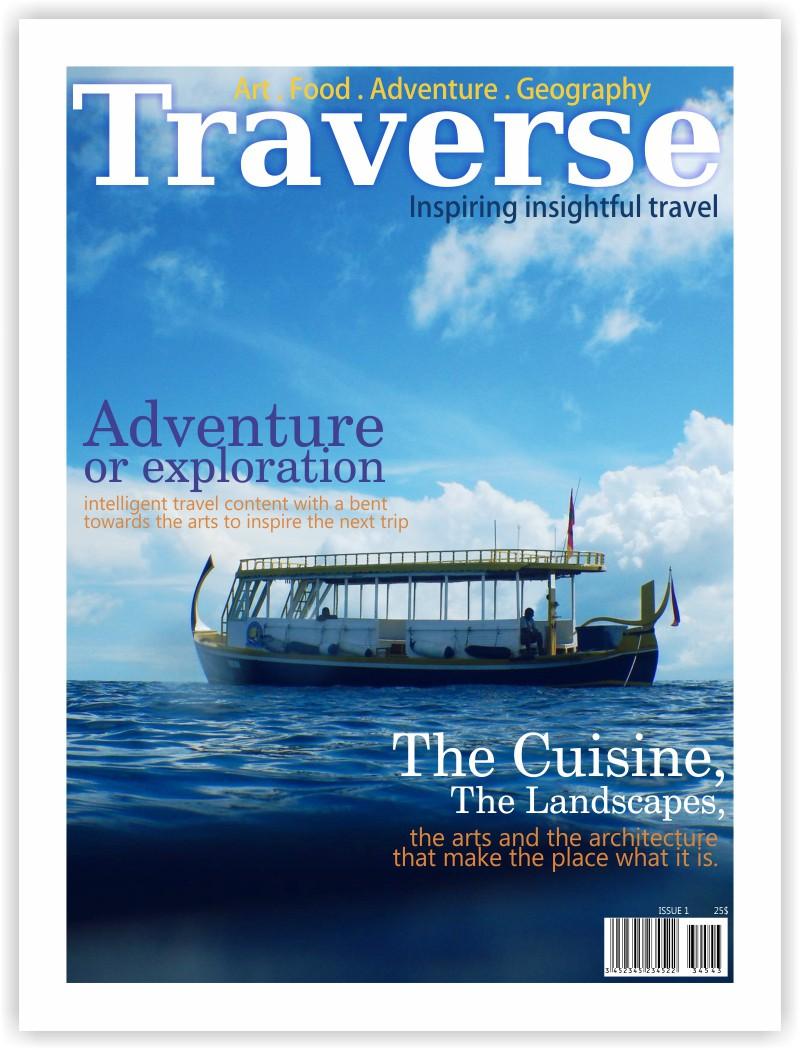 Design a magazine cover for a new travel magazine