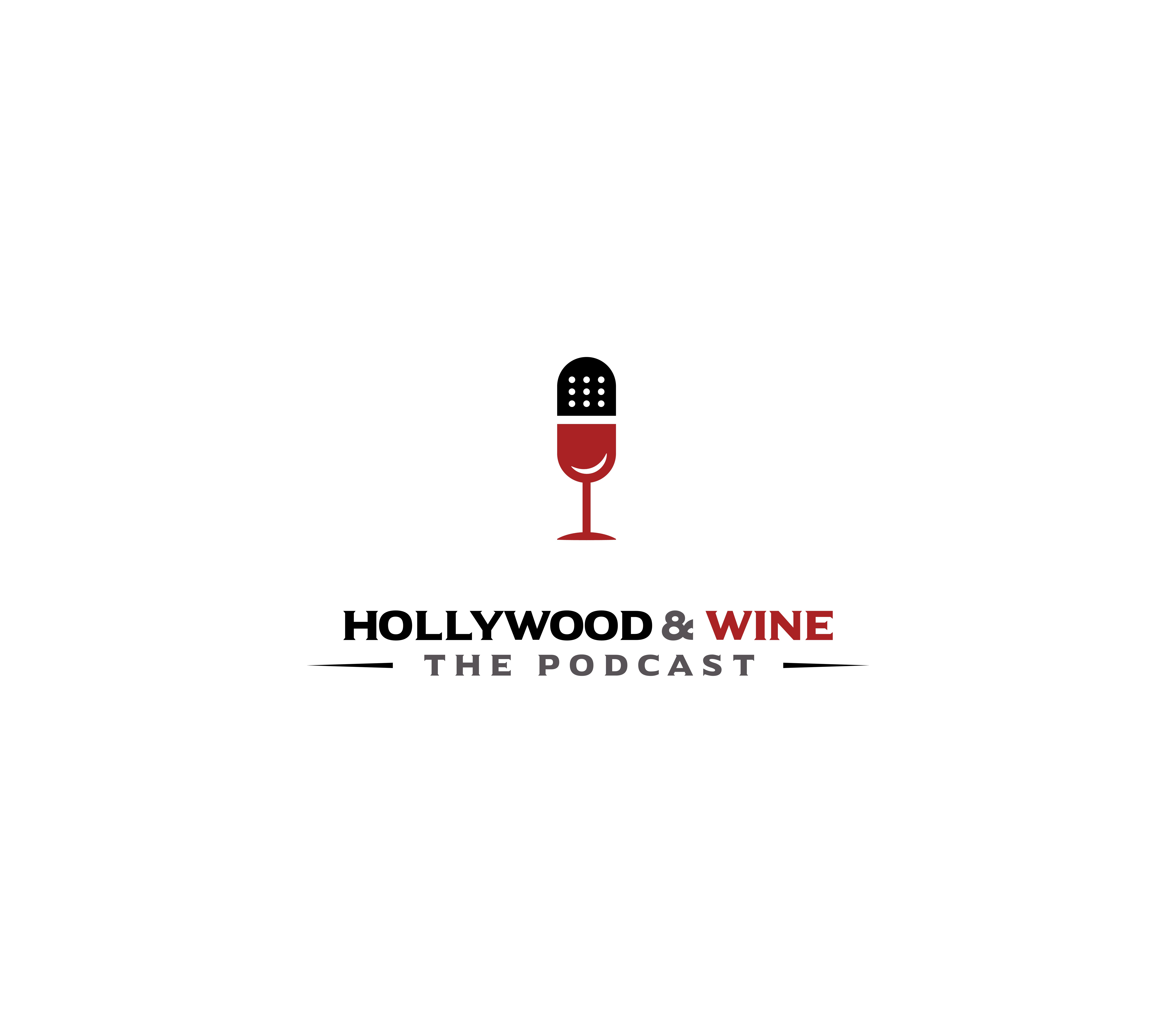 Create a logo for a podcast that mixes the tasting of wine with the business of Hollywood