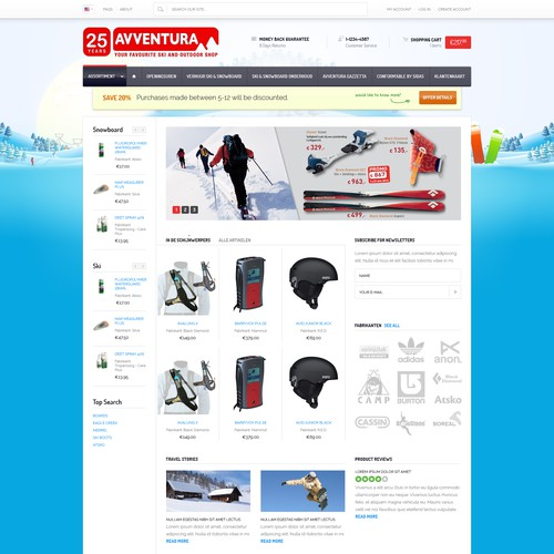 Cool and trendy design needed for an outdoor style webshop!!