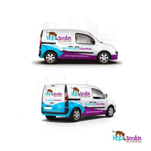 Hop & Scotch Dog Daycare Van Wrap